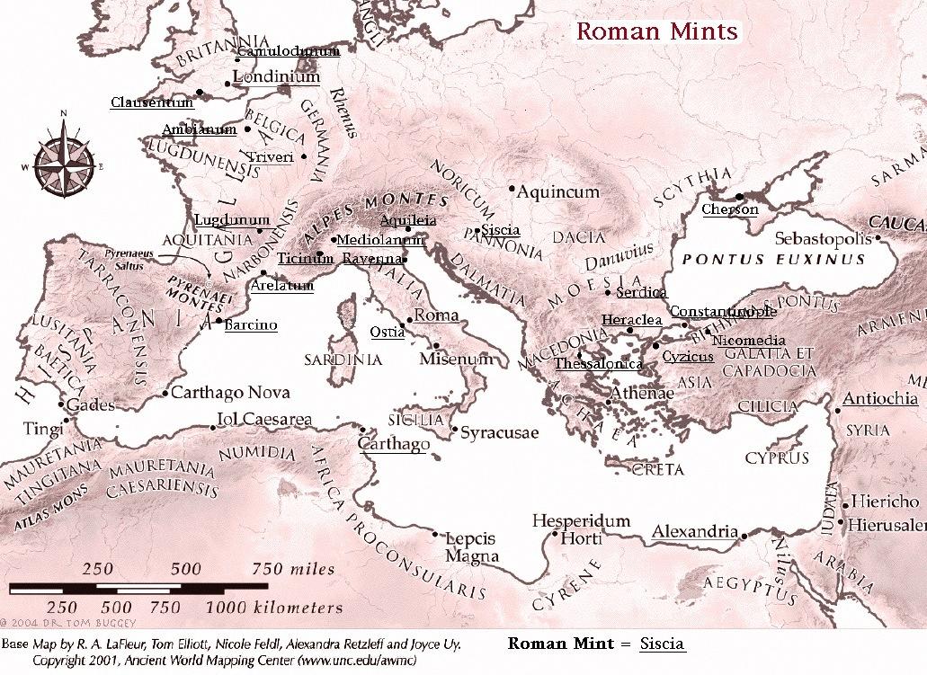 Map of Roman Mints